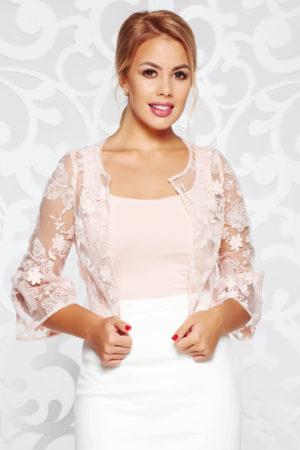 Bolero dama roz cu maneci trei-sferturi de ocazie cu croi larg si insertii de broderie cu tul cu aplicatii florale
