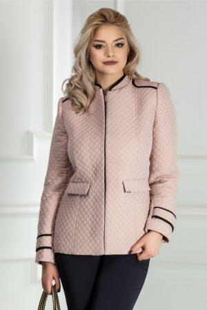 Jacheta dama eleganta roz praf cu guler tunica Fabricata in Romania marca Moze
