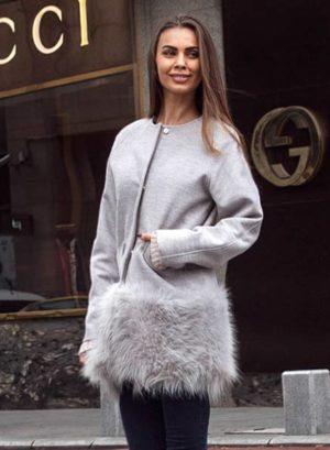 Jacheta Scurta Blana London Gri marca Chic Diva pentru femei