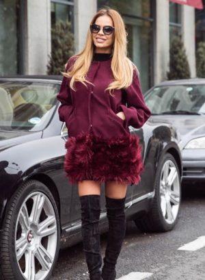 Palton scurt marsala calduros si elegant fabricat din stofa si captusit cu margine din blana London