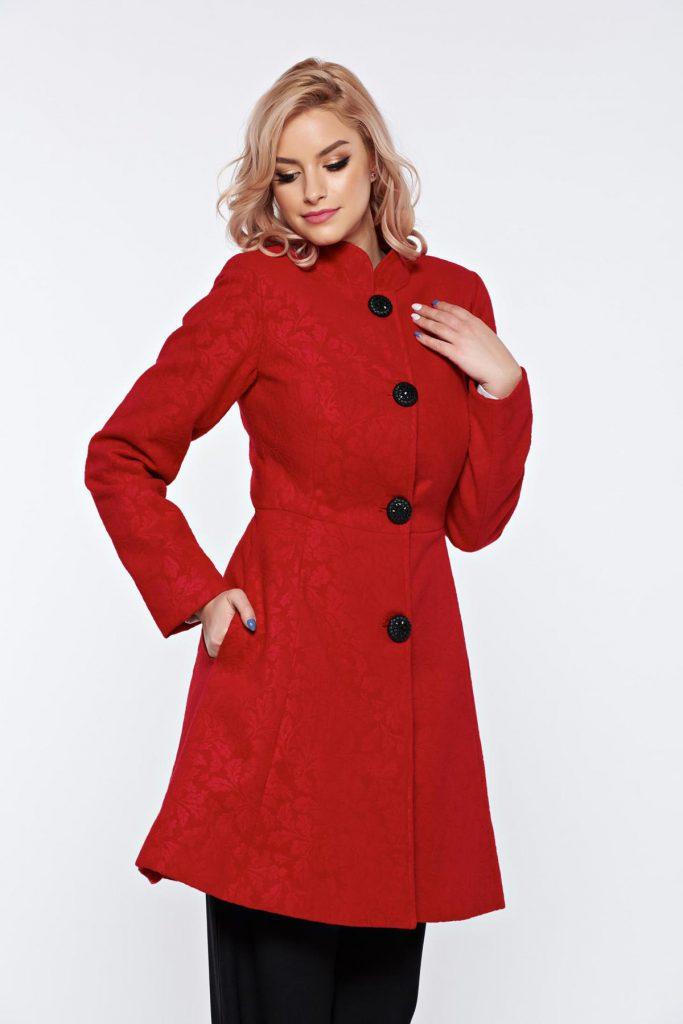 Palton dama rosu elegant din stofa cu model floral in material Artista captusit pe interior