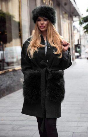 Palton negru calduros si lung de dama din stofa trendy cu insertii din blana la buzunare Krista