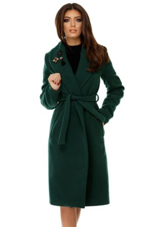 Palton verde elegant realizat din stofa cu guler petrecut si accesorizat cu aplicatii pe rever Cezara