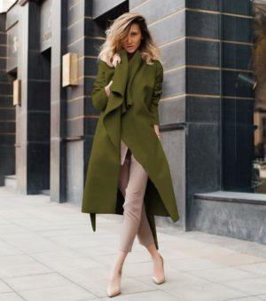 Palton tip cardigan kaki elegant din stofa subtire si moale accesorizat cu cordon in talie Elise