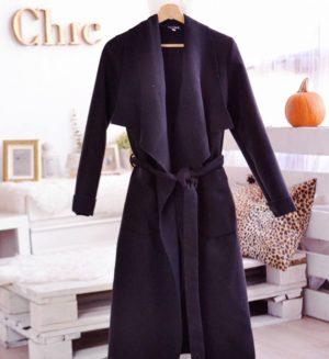 Palton tip cardigan negru elegant din stofa subtire si moale accesorizat cu cordon in talie Elise