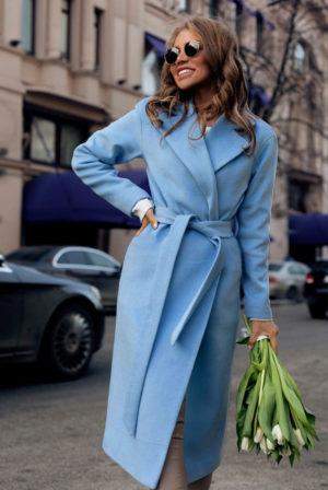Palton lung si calduros bleu de ocazie cu cordon in talie perfect pentru tinute elegante Freddo