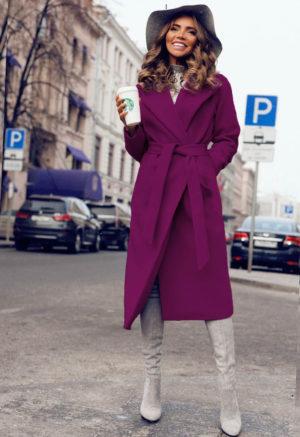 Palton lung si calduros mov de ocazie cu cordon in talie perfect pentru tinute elegante Freddo