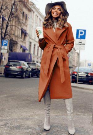 Palton lung si calduros portocaliu de ocazie cu cordon in talie perfect pentru tinute elegante Freddo