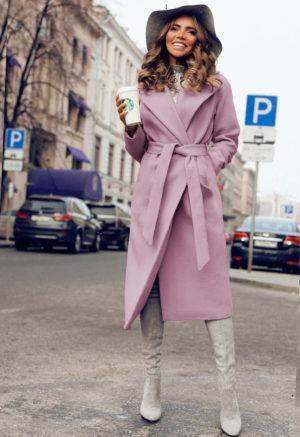 Palton lung si calduros roz de ocazie cu cordon in talie perfect pentru tinute elegante Freddo