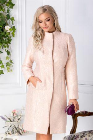 Palton de ocazie nude foarte elegant si feminin cu motive florale accesorizate cu fir argintiu Ginette