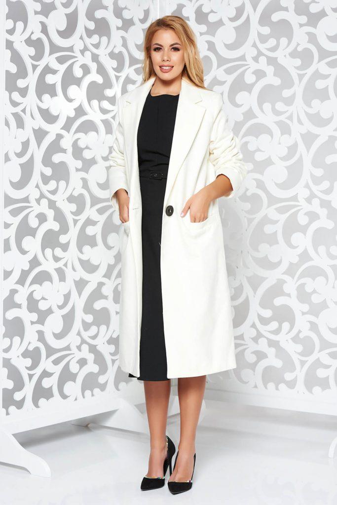 Palton alb lung de dama pentru toamna iarna cu un design clasic din stofa LaDonna