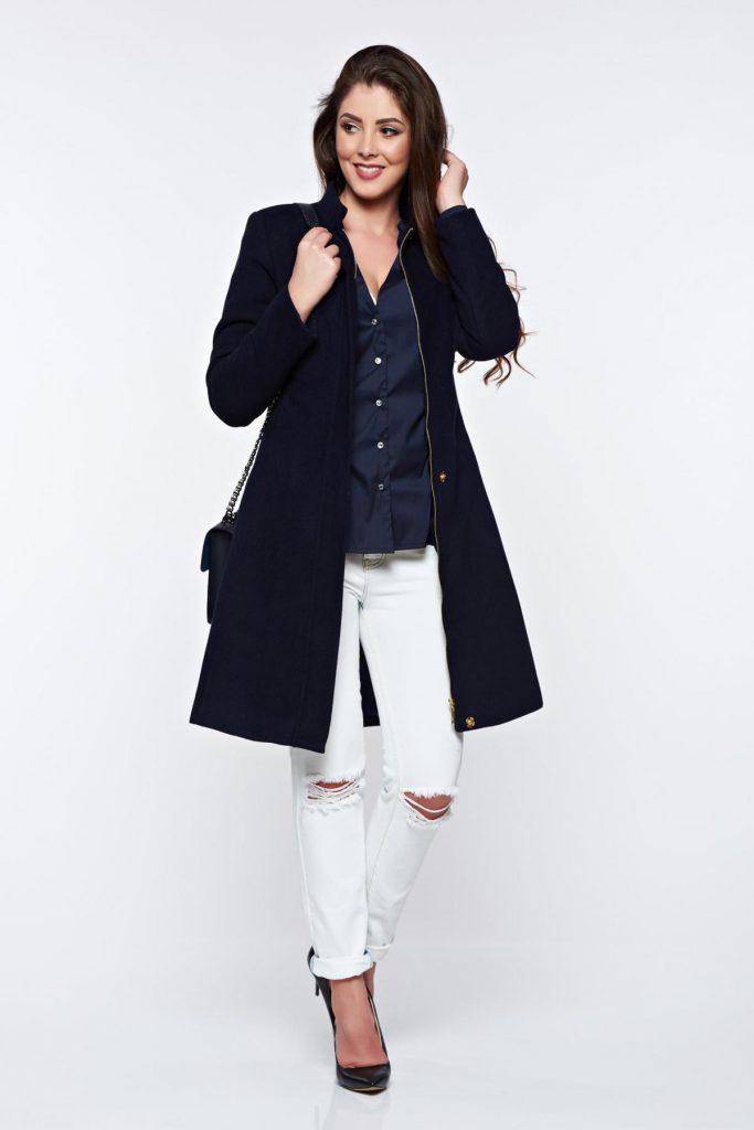 Palton albastru inchis cu buzunare LaDonna de ocazie ce se inchide cu fermoar