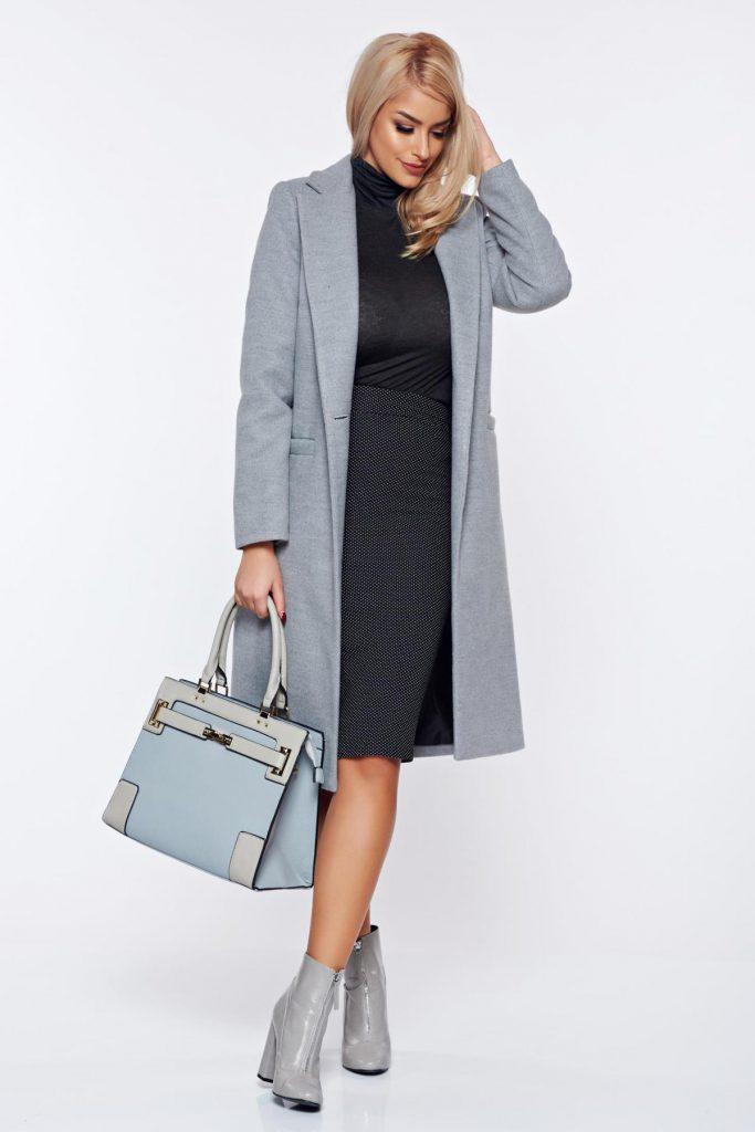 Palton de dama lung de toamna iarna gri cu un design clasic din stofa captusit pe interior LaDonna