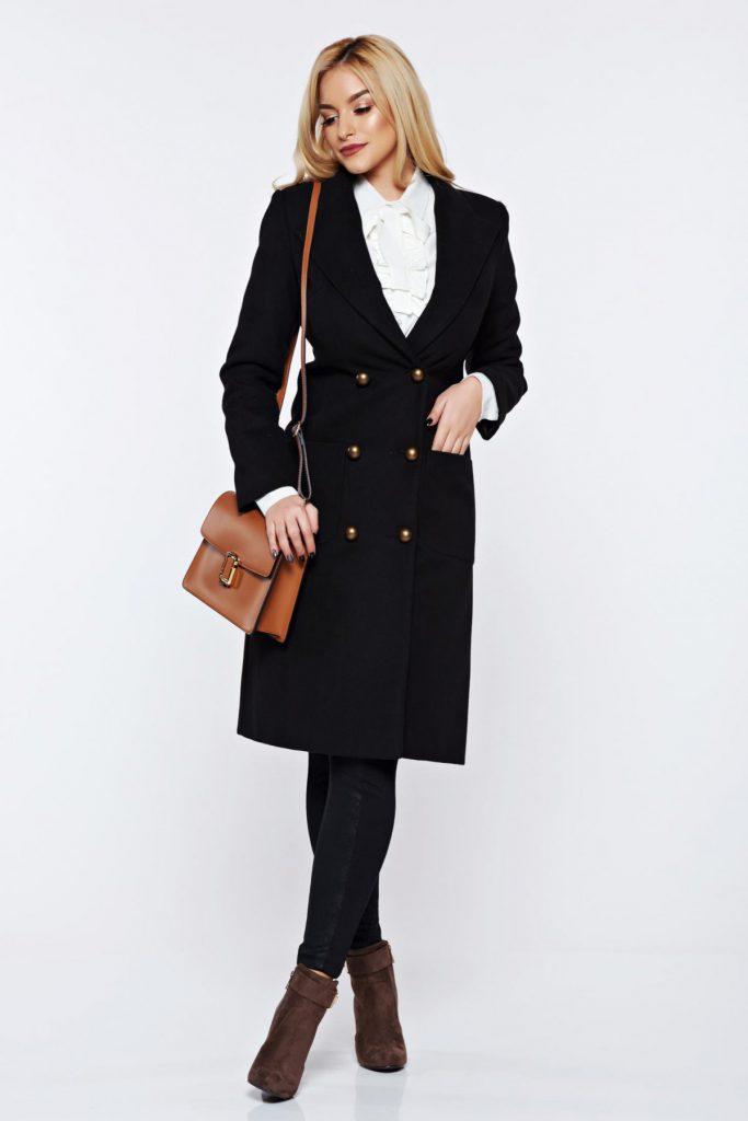 Palton elegant calduros negru lung de ocazie cu buzunare laterale LaDonna