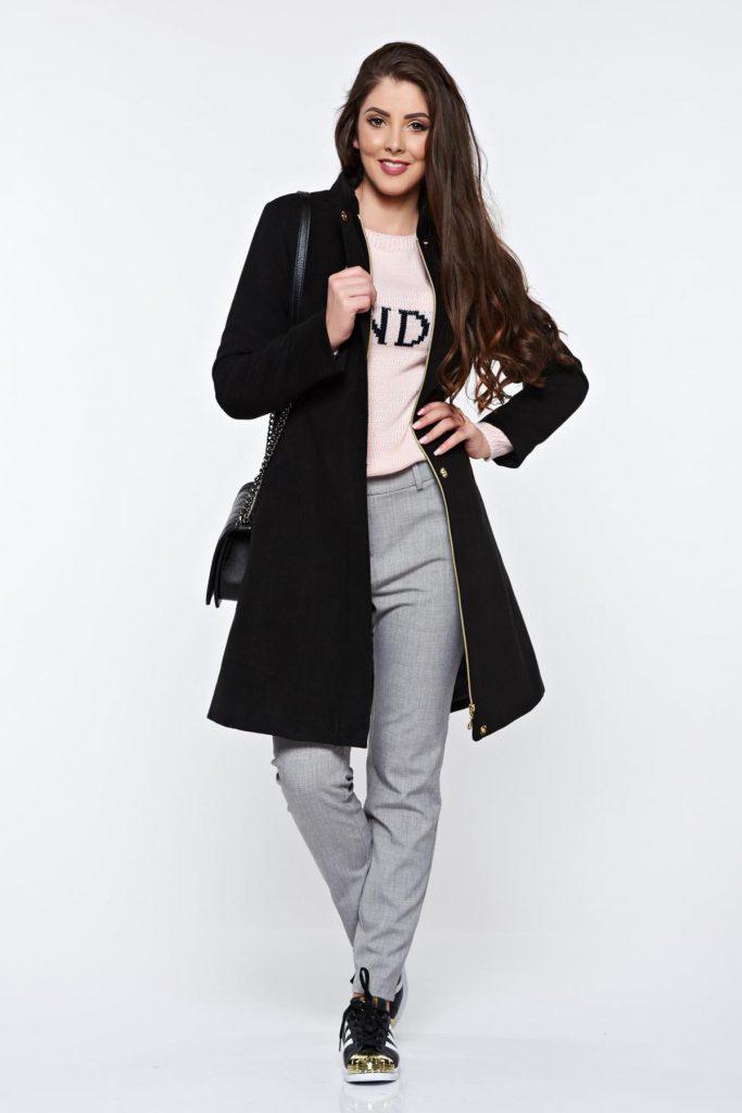 Palton lung negru casual calduros cu buzunare pentru iarna captusit pe interior LaDonna