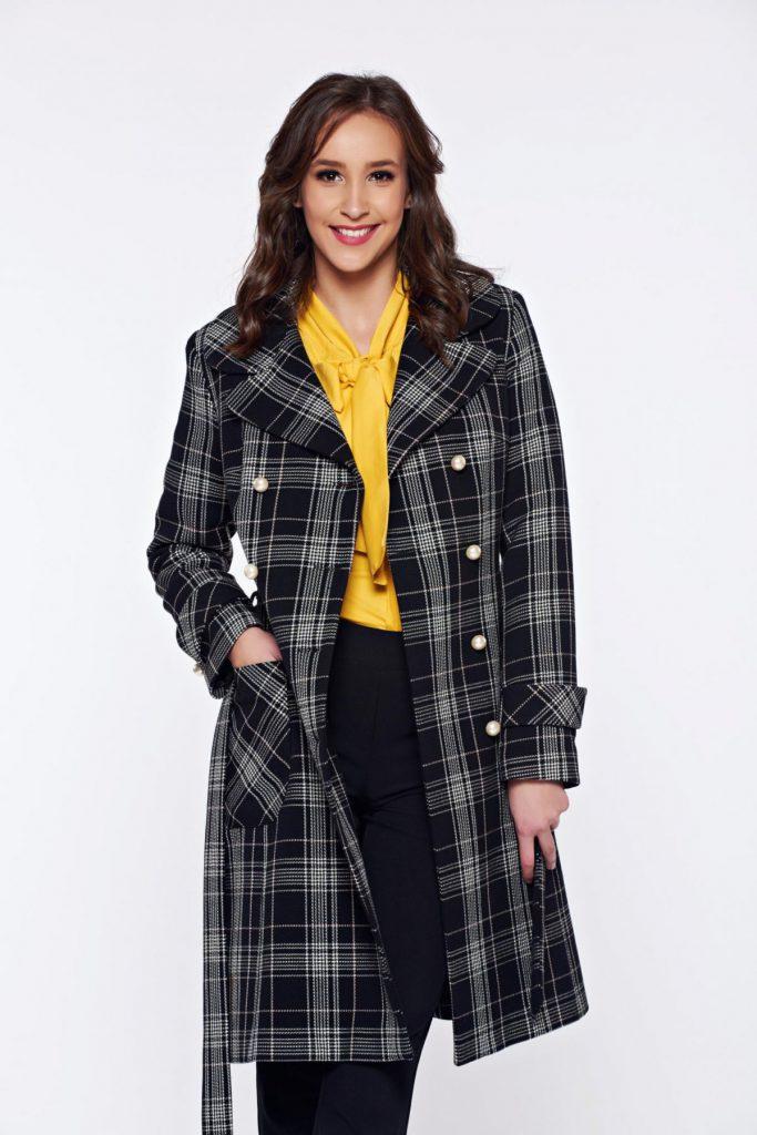 Palton lung negru in carouri de lana cu nasturi tip perla si captusit pe interior LaDonna