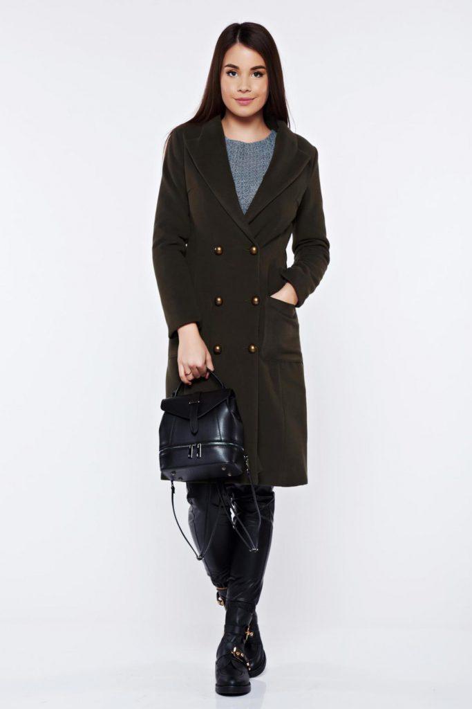 Palton dama elegant si calduros verde inchis casual din lana cu umerii buretati si captusit pe interior LaDonna