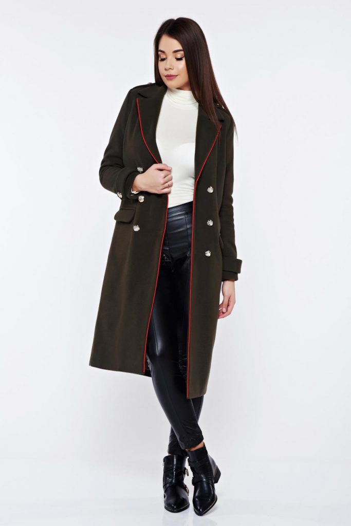 Palton casual khaki in stil Army Military LaDonna casual din lana drept captusit pe interior
