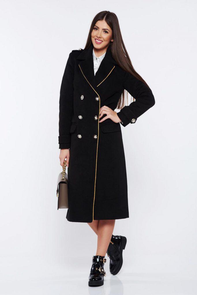Palton din lana negru drept captusit pe interior cu umerii buretati si accesorizat cu nasturi Military LaDonna