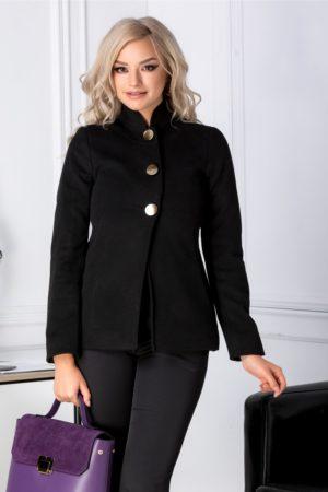 Palton scurt negru de dama pentru iarna marca Moze accesorizat cu trei nasturi maxi aurii