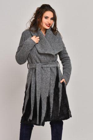Palton gri lung din lana cu blanita si cordon elegant in talie Onida
