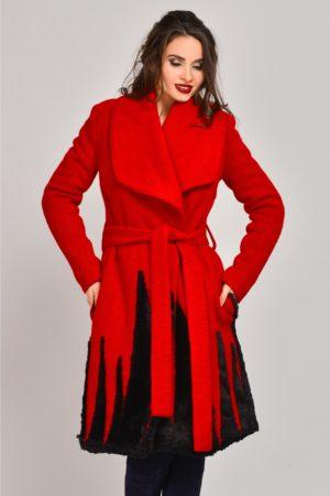 Palton rosu lung din lana cu blanita si crodon elegant in talie Onida