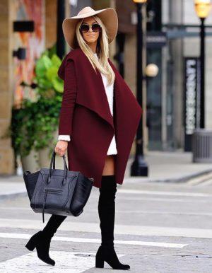 Palton Sabine Visiniu Bordo marca Chic Diva pentru femei