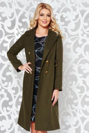 Palton lung verde inchis cu croiala casual dreapta StarShinerS dintr-o stofa calitativa de grosime medie cu lana in compozitie