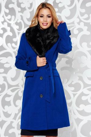 Palton dama albastru lung foarte elegant si modern din stofa groasa cu lana accesorizat cu blanita moale la guler