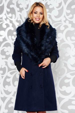 Palton dama bleumarin drept foarte elegant si stilat din stofa groasa cu lana accesorizat cu blanita moale la guler