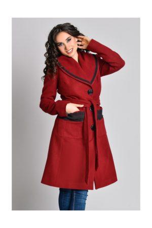Palton matlasat bordo cu guler maxi si broderie stilata la buzunare si cordon in talie Aura Carina