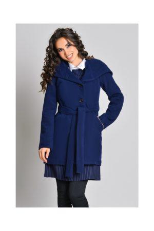 Palton bleumarin casual de toamna iarna cu gluga si cordon in talie foarte usor de asortat