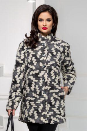 Palton calduros din lana cu design interesant pentru dama foarte elegant in nuante de alb cu gri