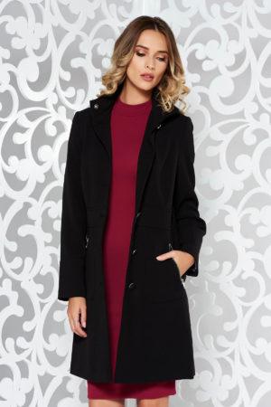 Palton negru cambrat usor evazat de iarna calduros confectionat din material gros si captusit pe interior