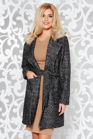 Palton negru cu maneci lungi casual cu cordon in talie din stofa groasa pe captuseala satinata cu guler din blana