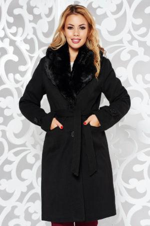 Palton negru elegant cu un croi cambrat din stofa cu guler din blana captusit pe interior cu buzunare accesorizat cu cordon
