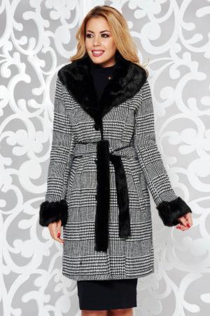 Palton dama imblanit elegant cambrat negru in carouri trendy realizat din stofa si guler indoit din blana ecologica