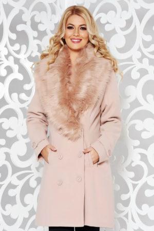 Palton dama roz drept foarte elegant si stilat din stofa groasa cu lana accesorizat cu blanita moale la guler