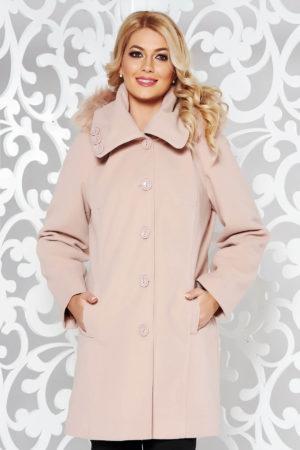 Palton dama roz lung foarte elegant si modern din stofa groasa cu lana accesorizat cu gluga imblanita