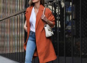 Palton portocaliu de ocazie drept si lung din stofa cu lana foarte elegant Akira