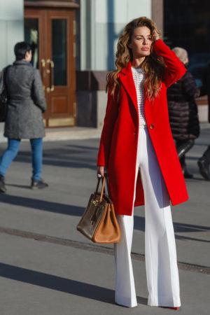 Palton rosu de ocazie drept si lung din stofa cu lana foarte elegant Akira