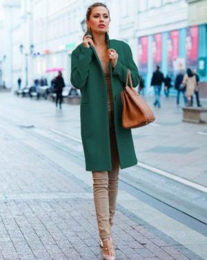 Palton verde de ocazie drept si lung din stofa cu lana foarte elegant Akira