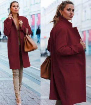 Palton visiniu bordo de ocazie drept si lung din stofa cu lana foarte elegant Akira