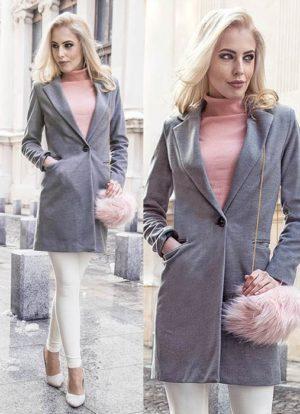 Palton gri de ocazie drept si lung din stofa cu lana foarte elegant Akira