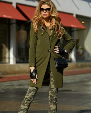 Palton kaki de ocazie drept si lung din stofa cu lana foarte elegant Akira