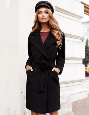 Palton scurt negru casual din stofa cu maneci lungi si cordon practic in talie Dolly