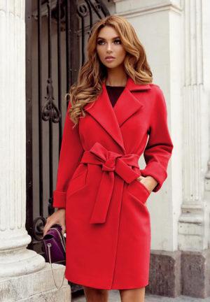 Palton scurt rosu casual din stofa cu maneci lungi si cordon practic in talie Dolly
