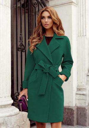 Palton scurt verde casual din stofa cu maneci lungi si cordon practic in talie Dolly