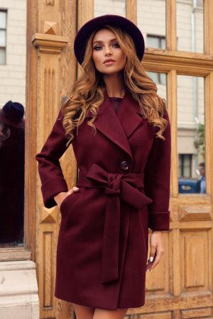 Palton scurt visiniu bordo casual din stofa cu maneci lungi si cordon practic in talie Dolly