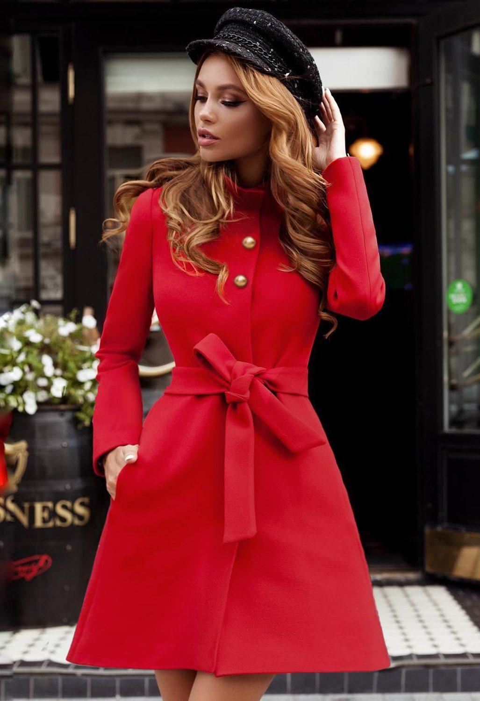 Palton rosu de iarna casual elegant din stofa cu lana si croiala evazata accesorizat cu cordon in talie Dulcis